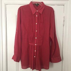 Lauren Ralph Lauren Pintuck Button Front Tunic